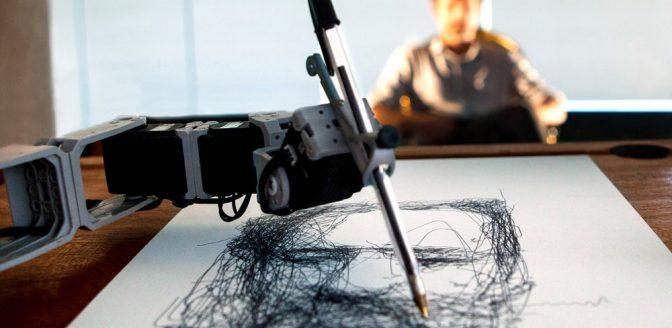 kunstinstallatie met tekenende robots