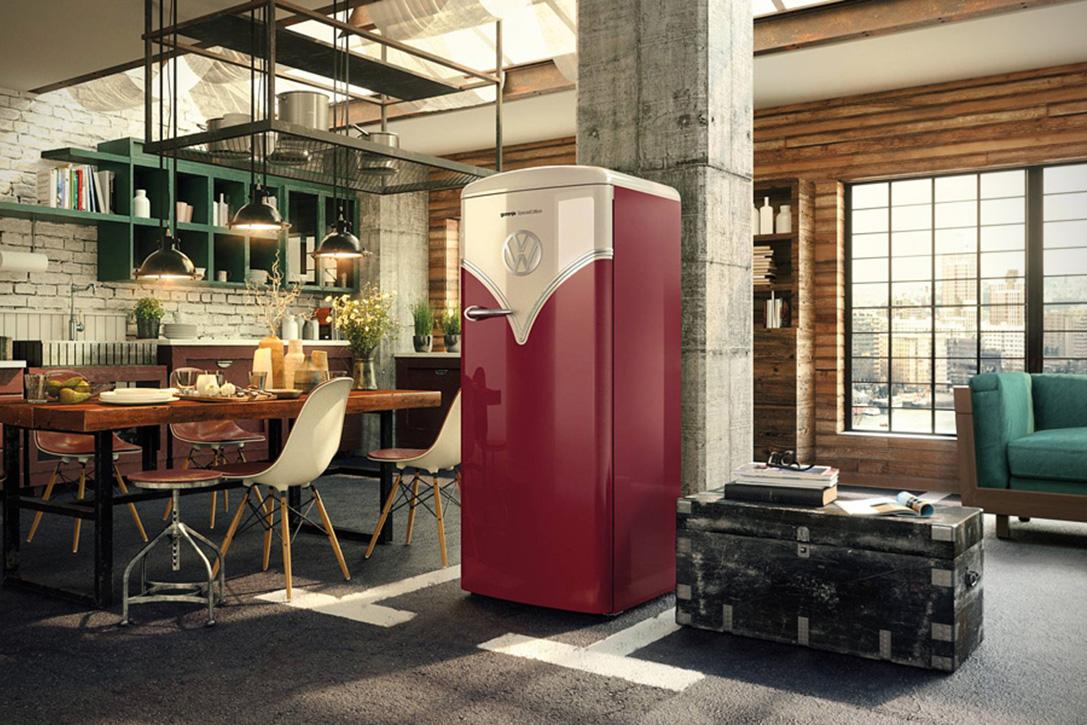 Retro Design Keuken : Parkeer deze retro volkswagen bulli koelkast in je keuken want