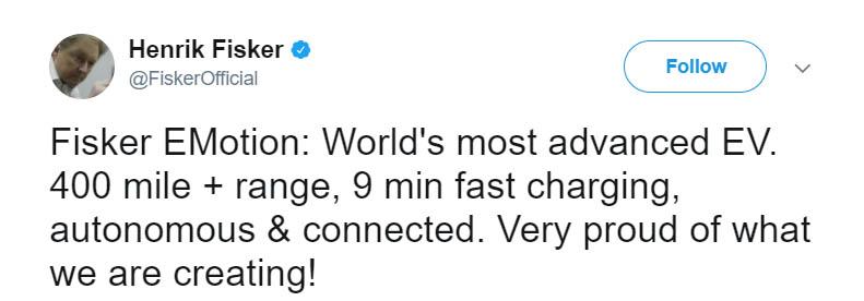 Henrik Fisker tweet
