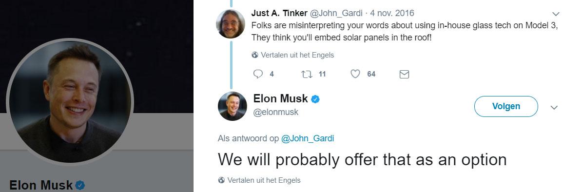 Elon Musk tweet zonnepanelen op Tesla Model 3