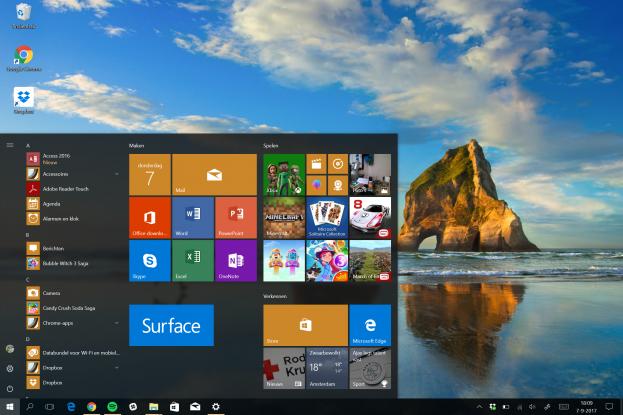 Screenshot Surface Laptop menu