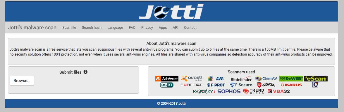 Jotti Malware virussen