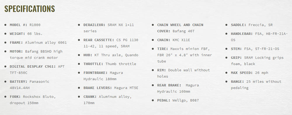 Rambo R1000XP Extreme Power Bike specificaties