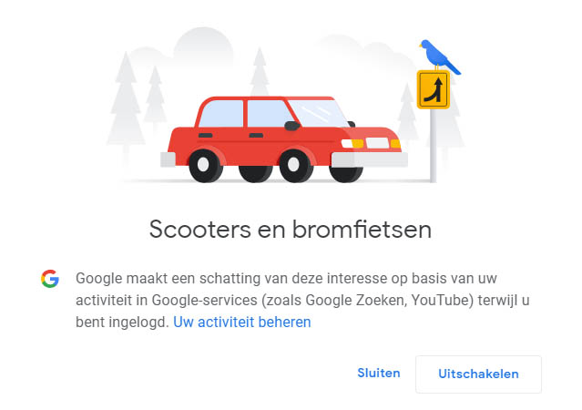 Google interesses advertentie