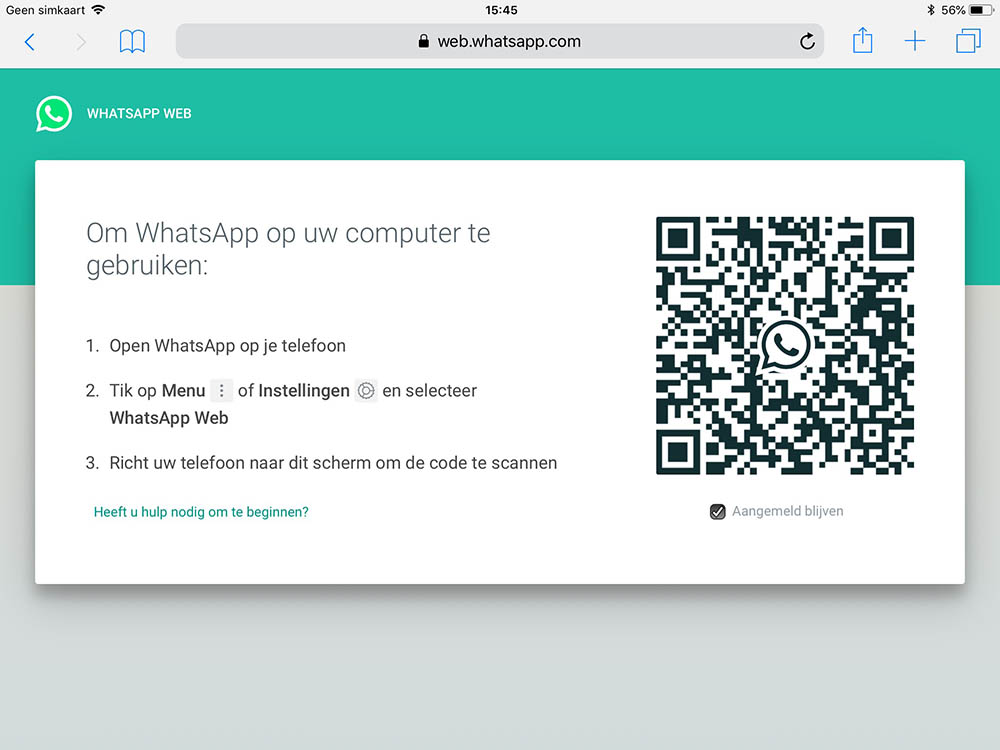 Whatsapp op iPad