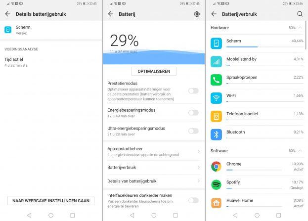 Huawei Mate 20 Pro screenshot batterij