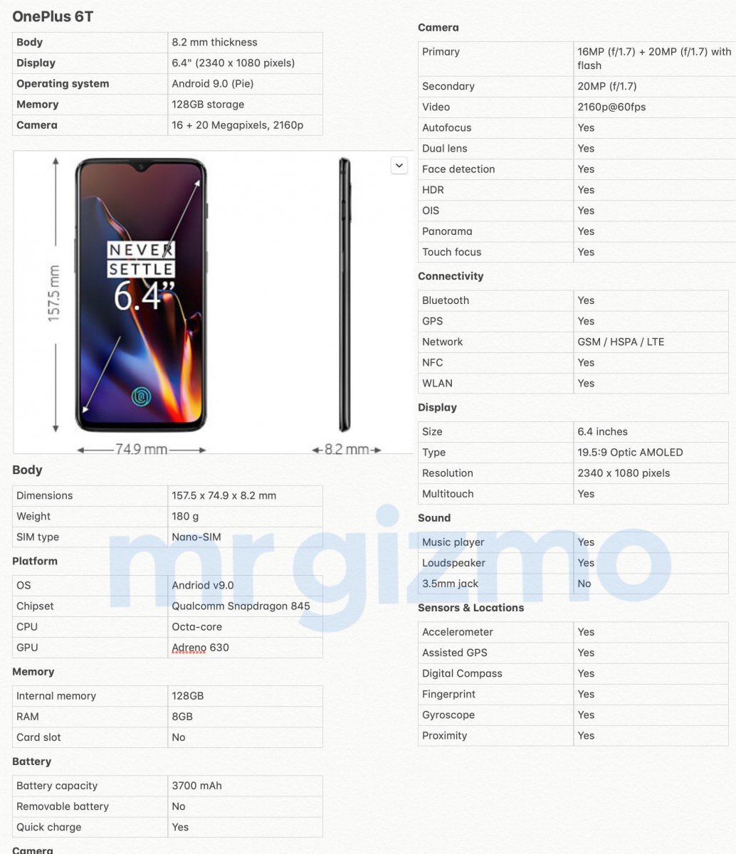OnePlus 6T specificaties