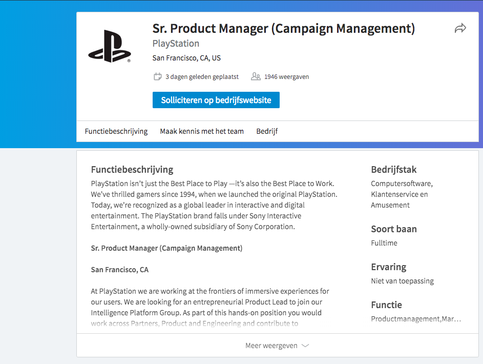 Vacature PlayStation 5