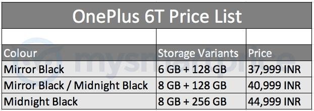 OnePlus 6T opslaggeheugen prijs