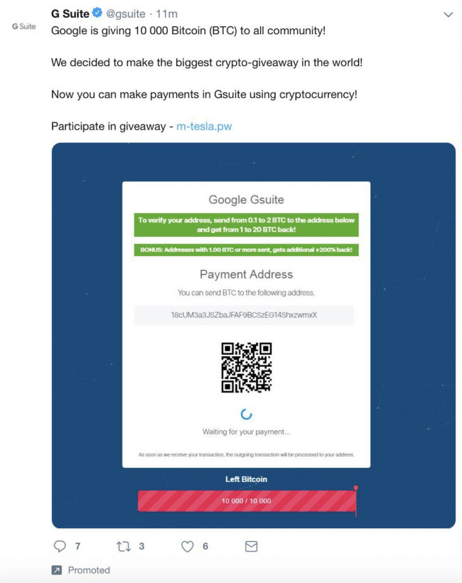 Google Bitcoin scam twitter