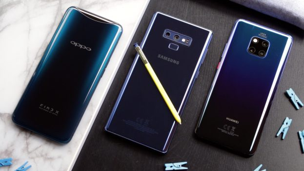 Huawei Mate 20 Pro vs Samsung Galaxy Note 9 vs Oppo Find X achterkant