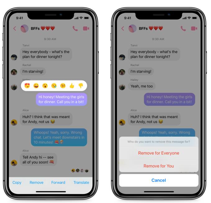 Facebook Messenger unsend-feature