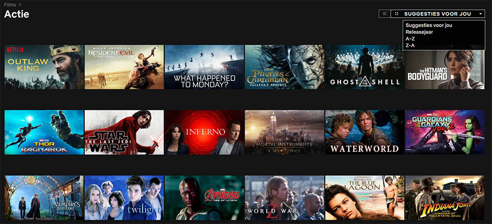 Netflix sorteren