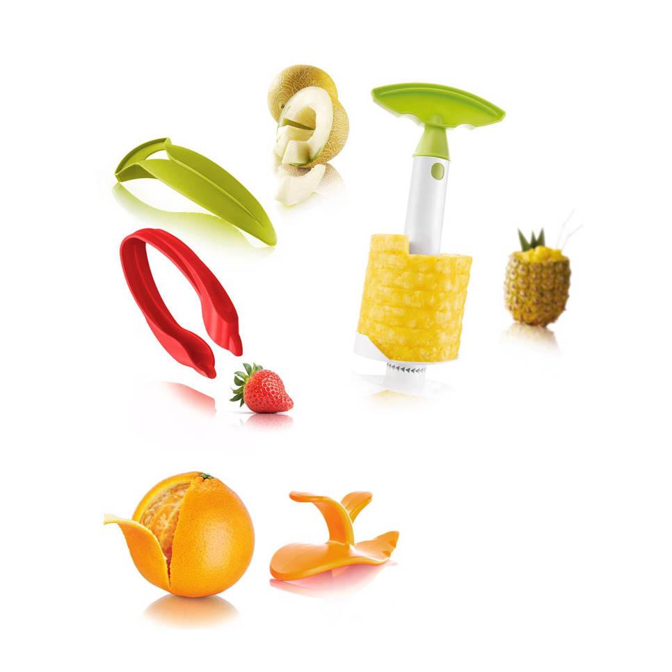 De 4-delige snijset van Tomorrow's Kitchen, ananassnijder, meloensnijder, citrussnijder en aarbeikroontjesplukker in een
