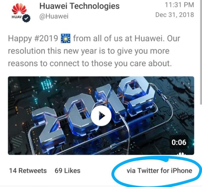 Huawei Tweet blunder iPhone