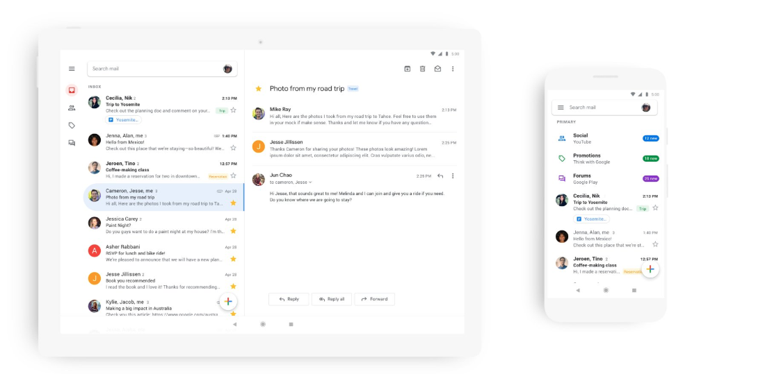 Gmail Google redesign iOS Android
