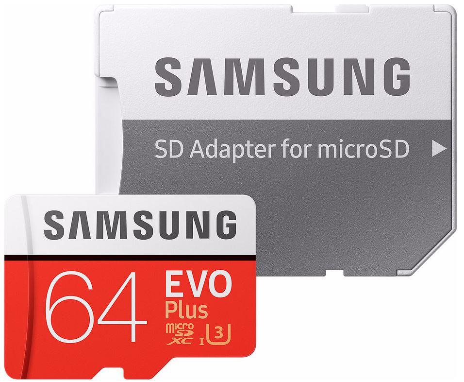 Samsung Micro SD-kaart microSDXC EVO+ 64 GB 100MB/s CL 10 + SD adapter