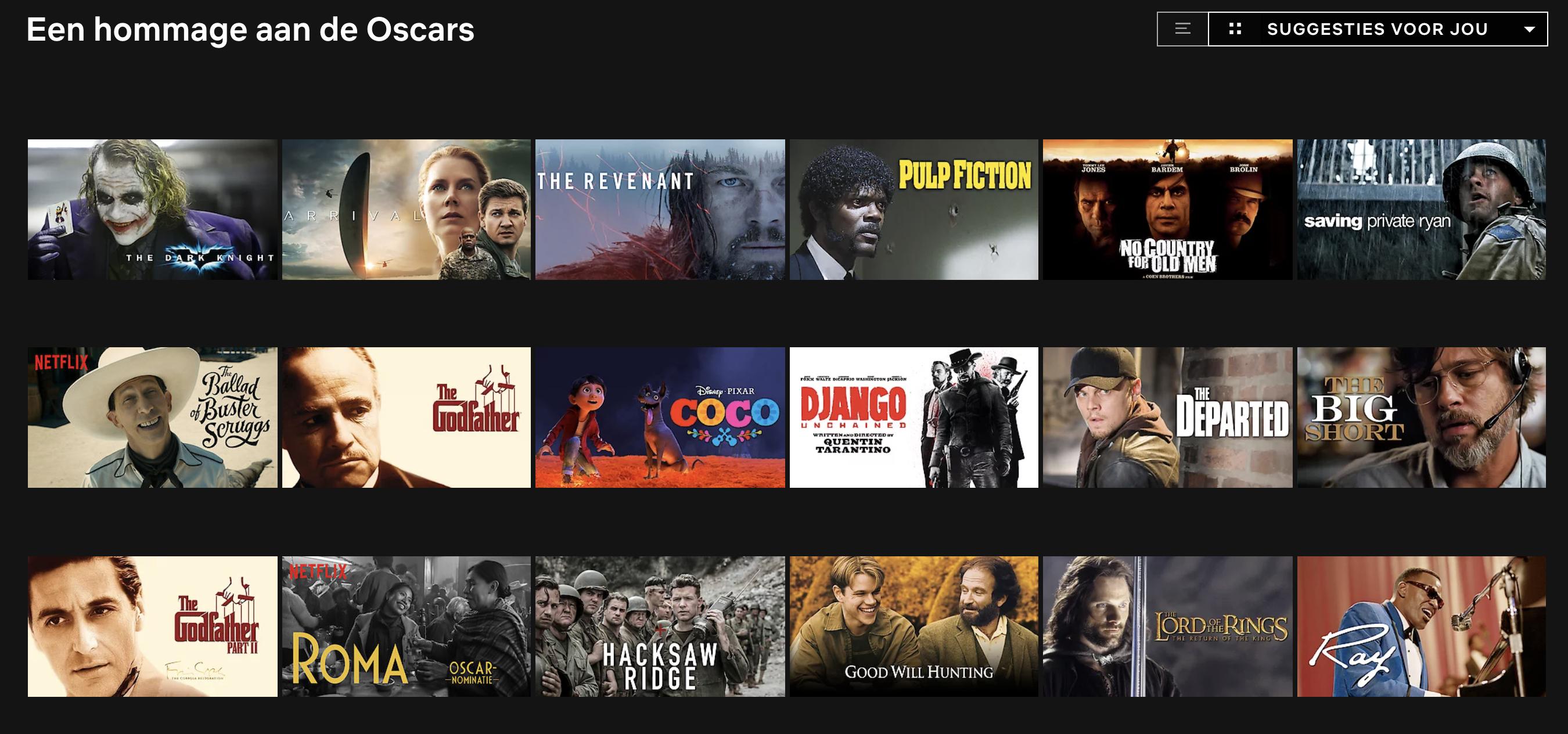 Netflix Oscars Nederland