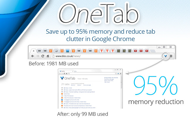 OneTab Google Chrome extensie