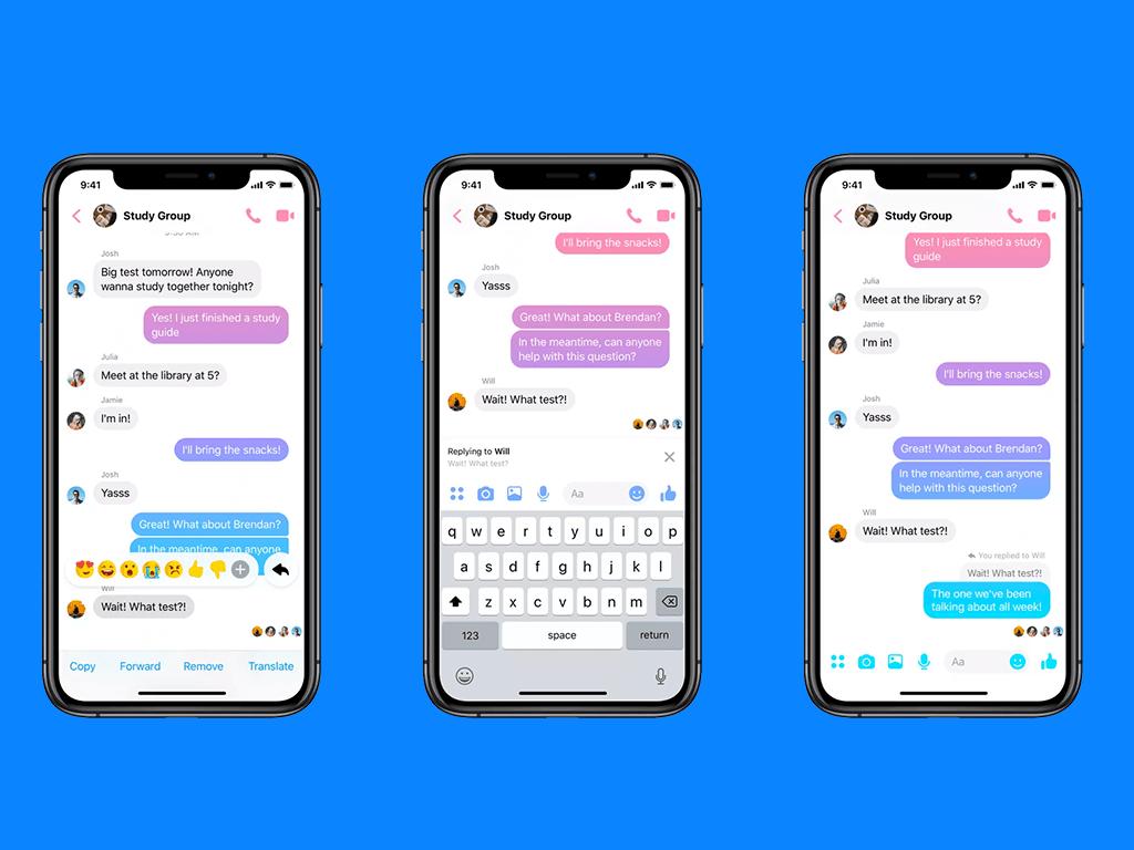 Individueel reageren Facebook Messenger WhatsApp