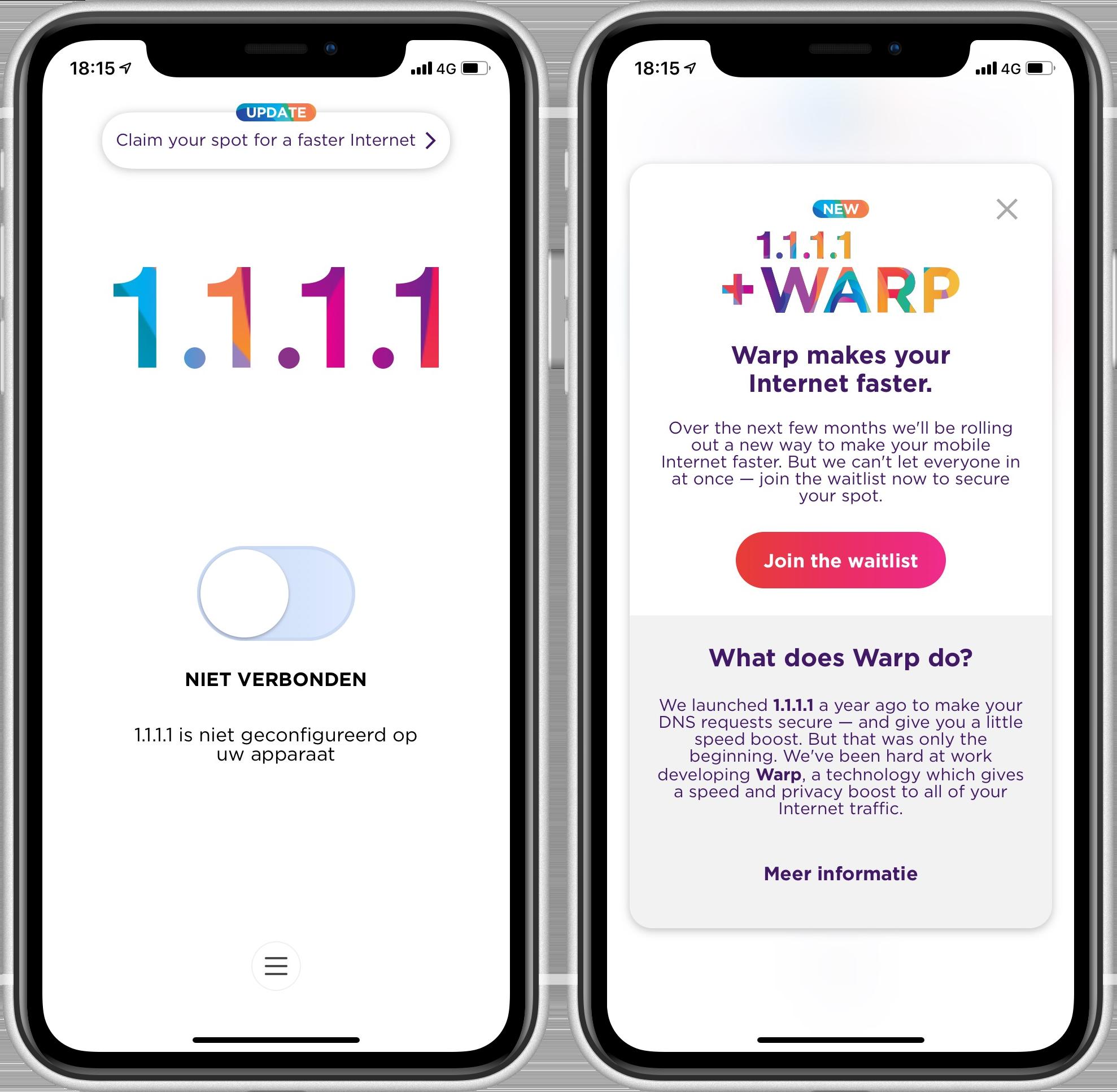 Gratis VPN-dienst Cloudfare Warp