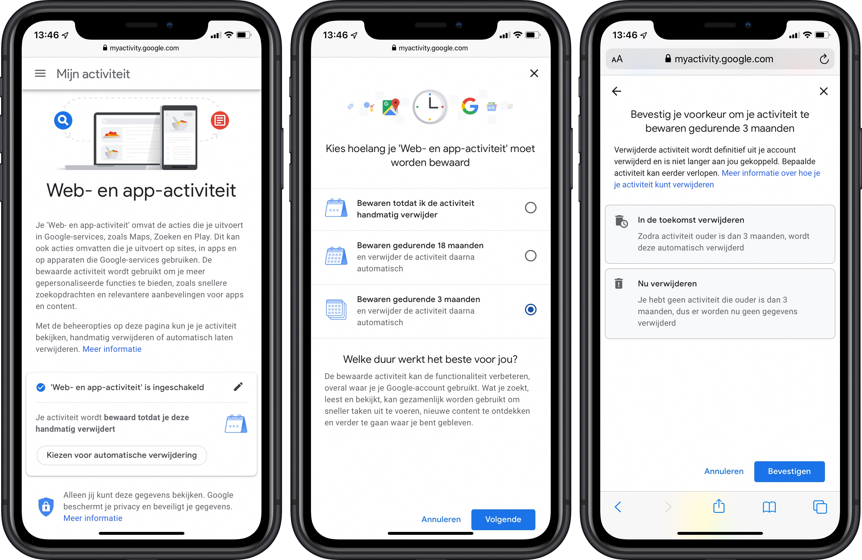 Google mijn activiteit verwijderen privacy