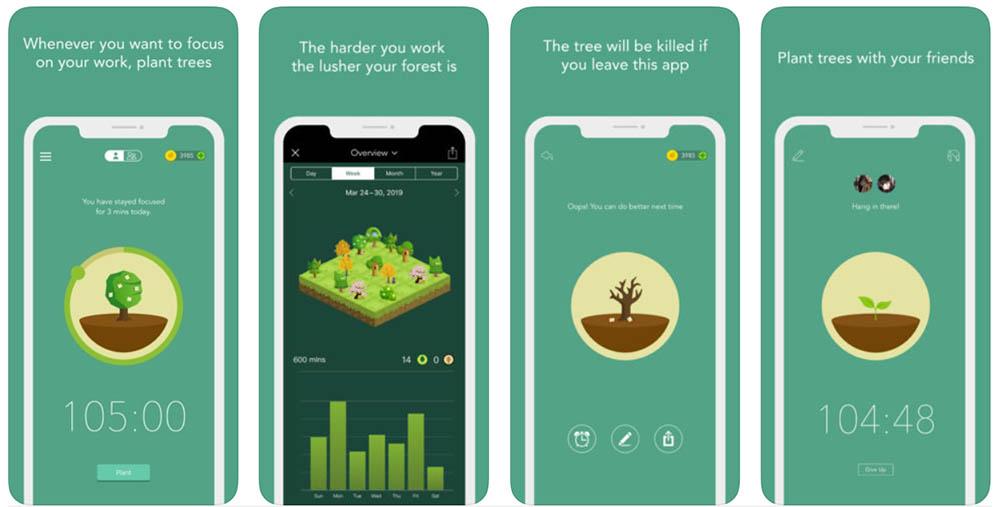 Forest app smartphone verslaving