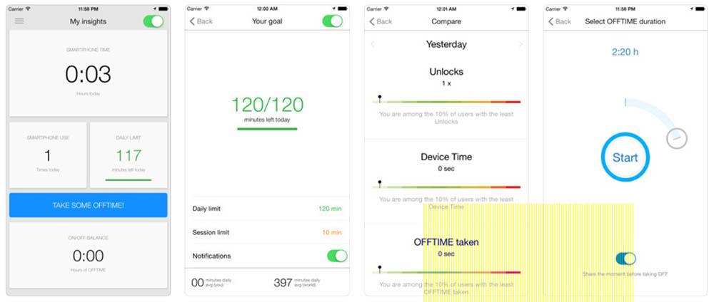 Offtime app smartphone verslaving
