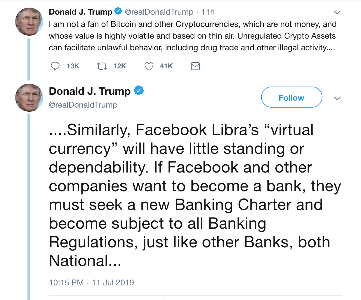 Donald Trump niet eens met Facebook Libra