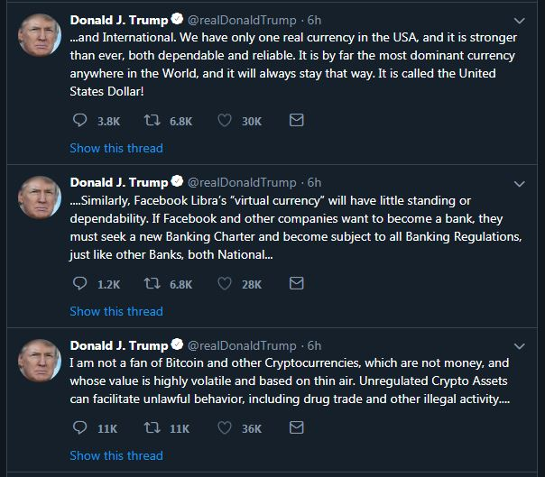 Tweets Donald Trump Bitcoin en cryptomunten
