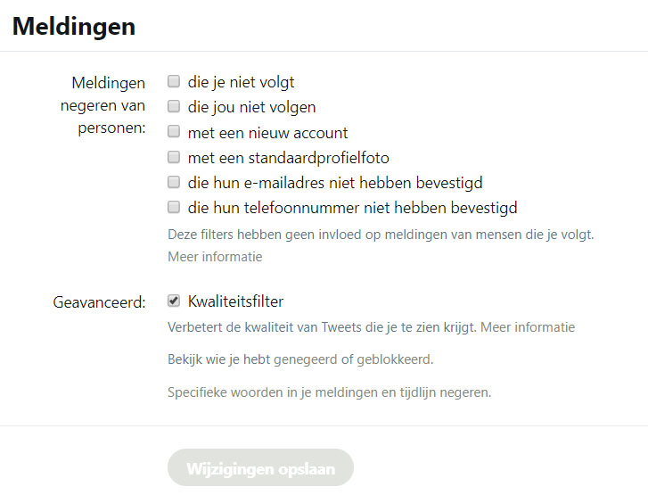 Twitter meldingen