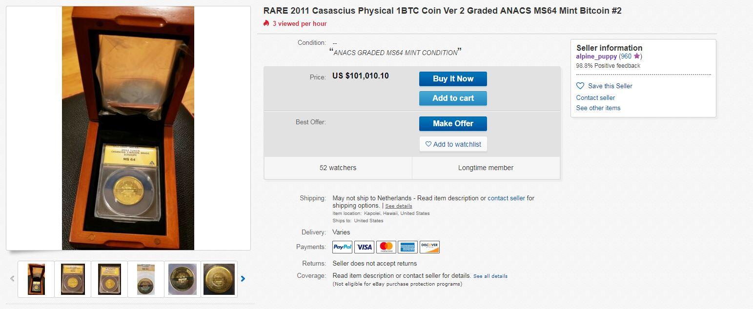 Cascius Bitcoin op eBay