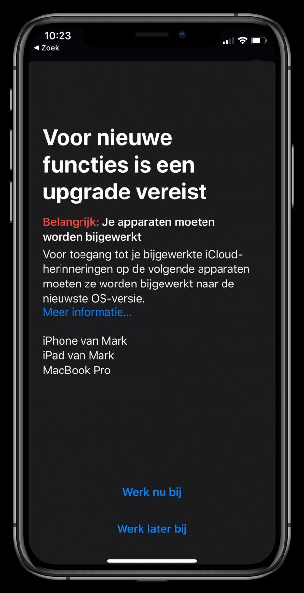 Herinneringen iOS 13 Apple iPhone 11 Pro
