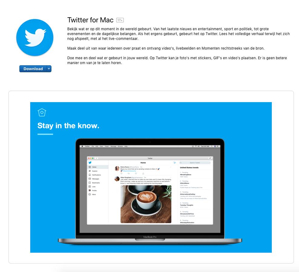 Twitter voor Mac