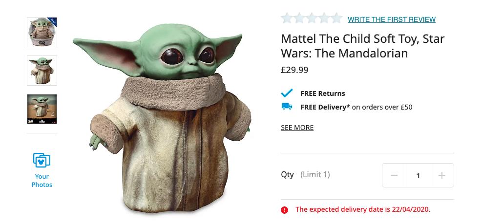 Baby Yoda Soft Toy