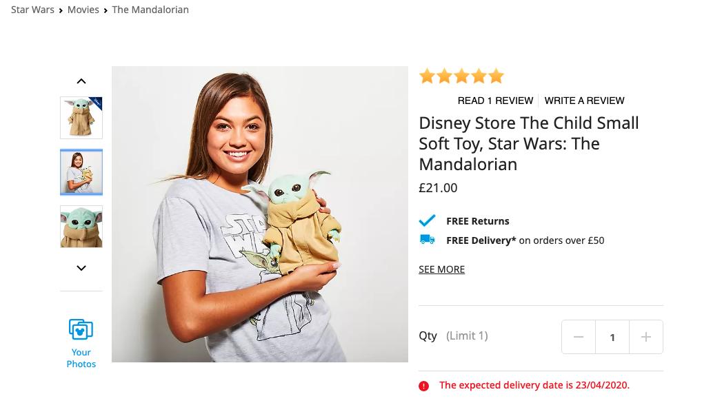 Baby Yoda knuffel