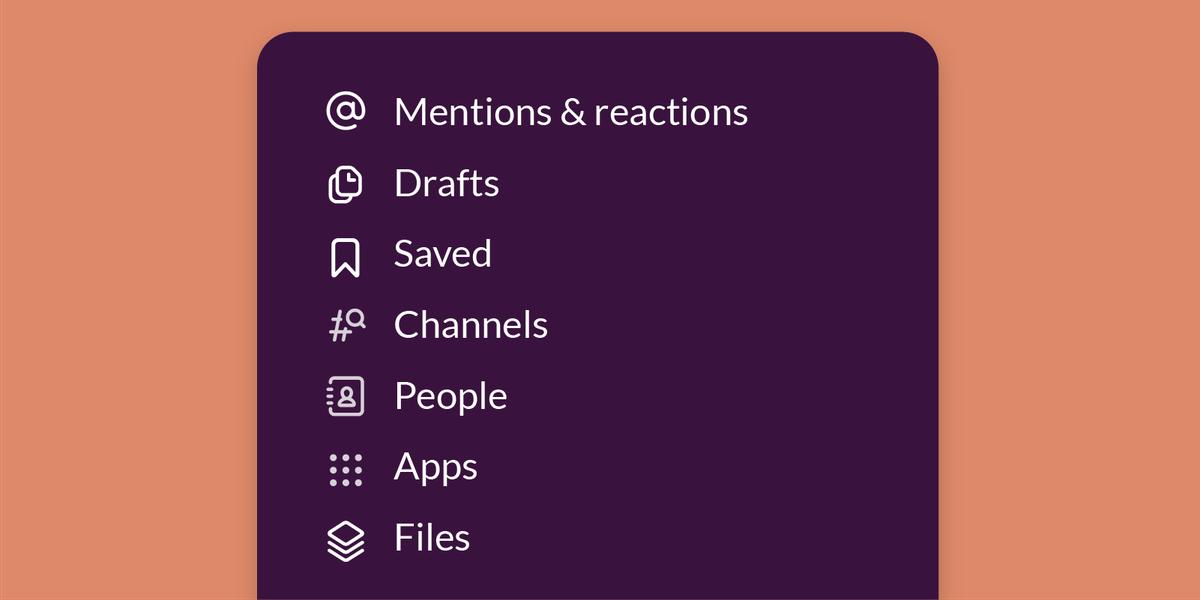 Nieuw Slack-menu.