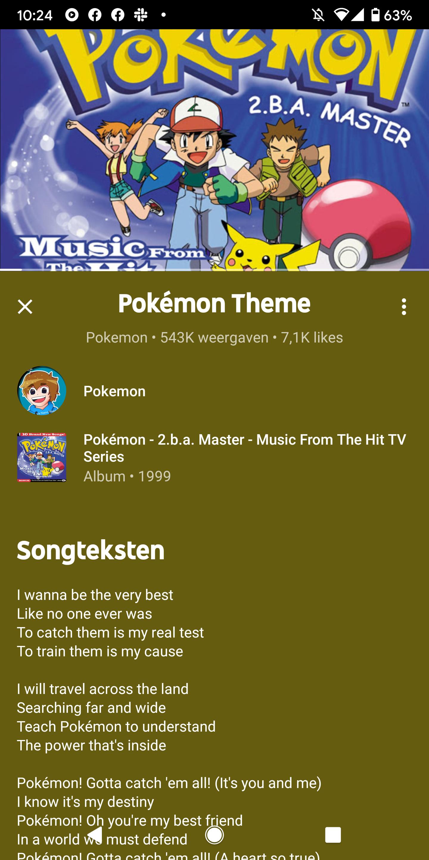 screenshot YouTube Music songteksten