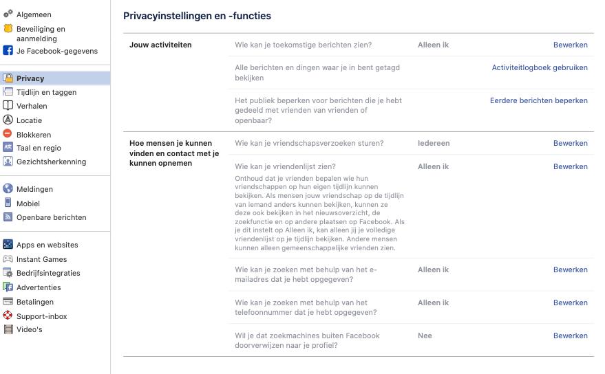 Facebook privacyinstellingen functies screenshot