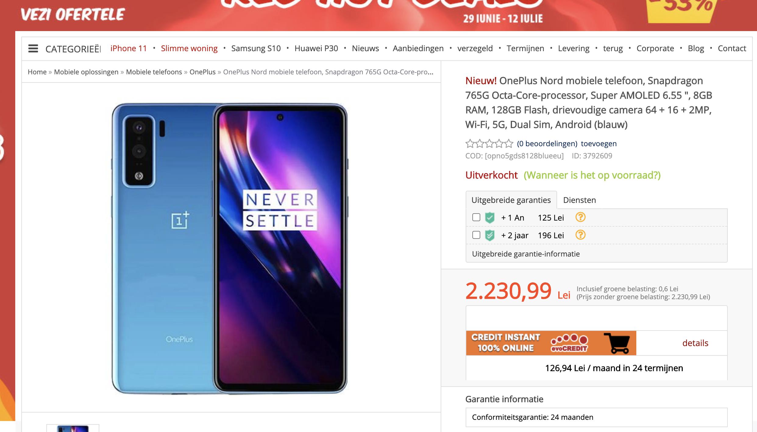 OnePlus Nord prijzen specificaties