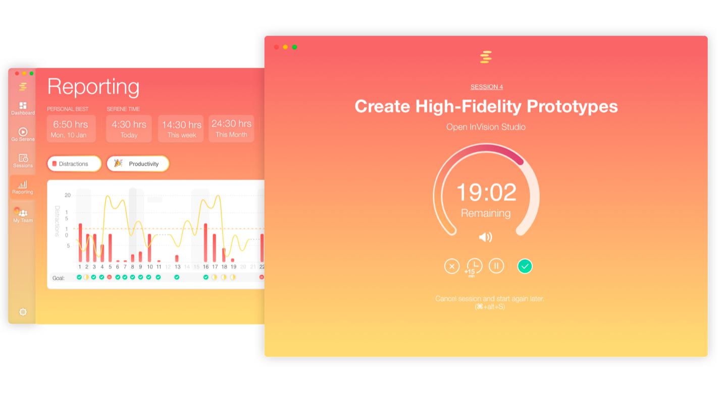 Serene productiviteit app