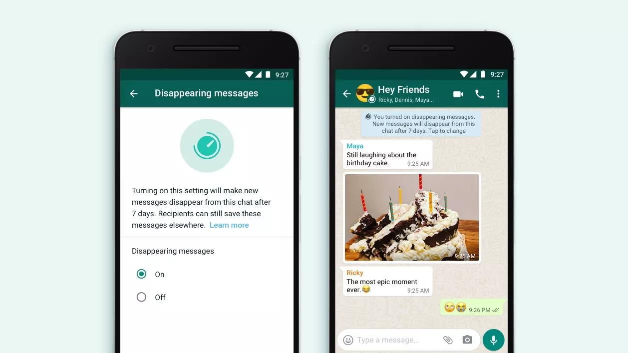 WhatsApp verdwijnende berichten