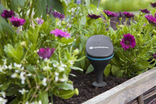 Slimme tuin die automatisch haar eigen bewatering regelt